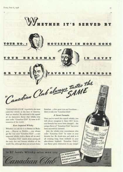 Canadian Club Always Tastes the Same (1938)