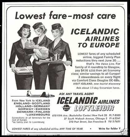 Icelandic Airlines Loftleidir Stewardess (1962)