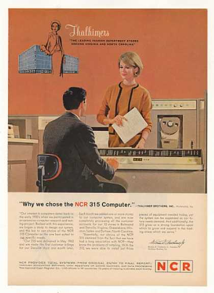 Thalhimers Dept Store National NCR 315 Computer (1963)