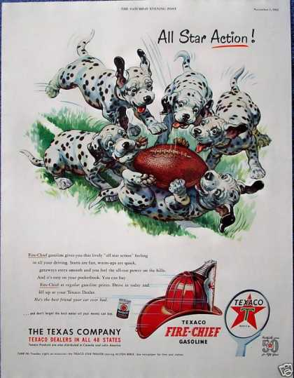 Texaco Fire Chief Dalmatian Puppies Dog Football (1952)