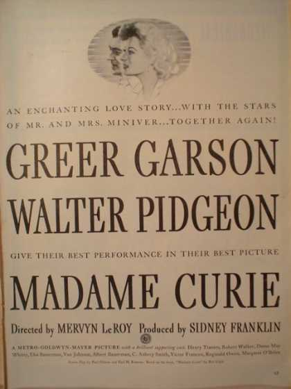 Movie Madame Curie Greer Garson (1944)