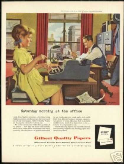 Dads Girl Bingham Art Typewriter Gilbert Paper (1955)