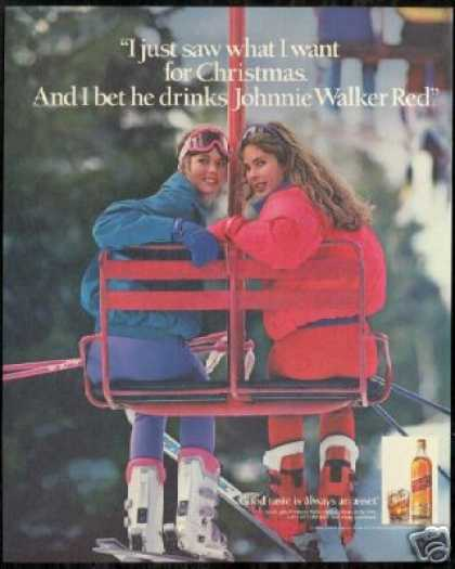Snow Ski Skiers Chairlift Johnnie Walker Scotch (1990)