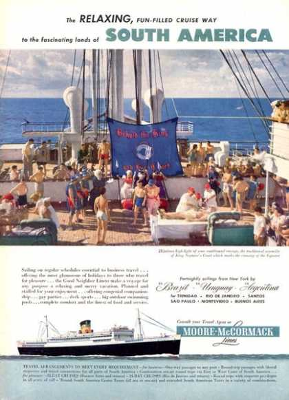 Moore Mccormack Cruise Lines Boat Ship America (1951)
