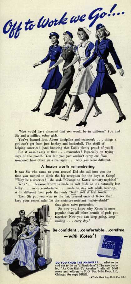 Kotex Company's Sanitary Napkins – Off to Work We Go!... (1942)