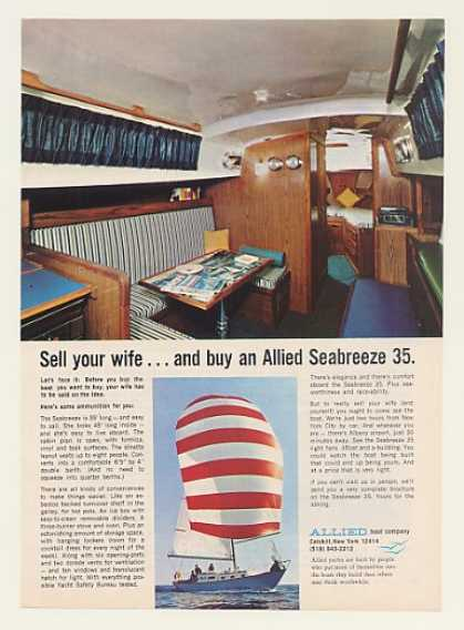 Allied Seabreeze 35 Yacht Sailboat Sell Wife (1969)