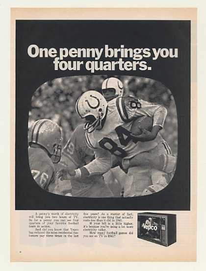 One Penny Electric Two Hours TV Football Vepco (1968)