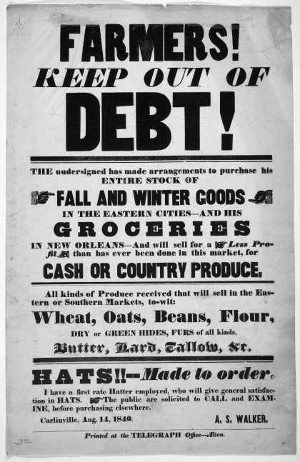 Farmer's! keep out of debt! The undersigned has made arrangements to purchase his entire stock of fall and winter goods in the eastern cities – and hi (1840)
