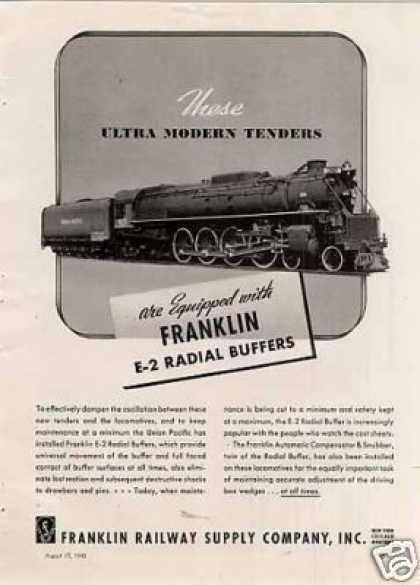 Franklin Railway Ad Union Pacific Alco 4-8-4 #825 (1940)