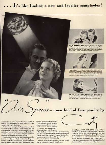 Coty's Air Spun Powder – ... It's like finding a new and lovelier complexion (1935)
