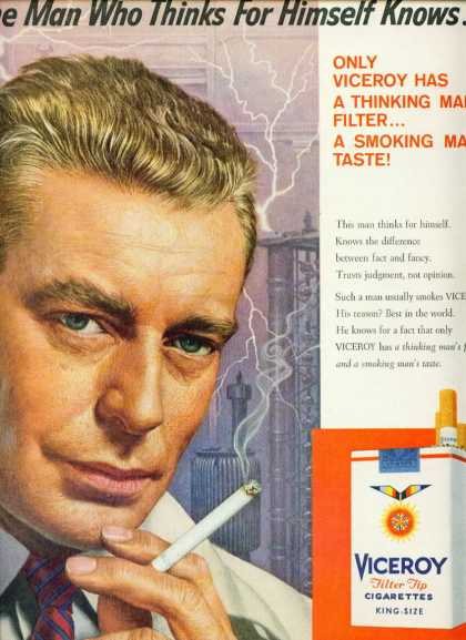 Viceroy Filter Tip Cigarettes Handsome Man (1959)