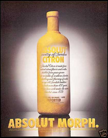 Absolut Morph Citron Vodka Bottle (1996)