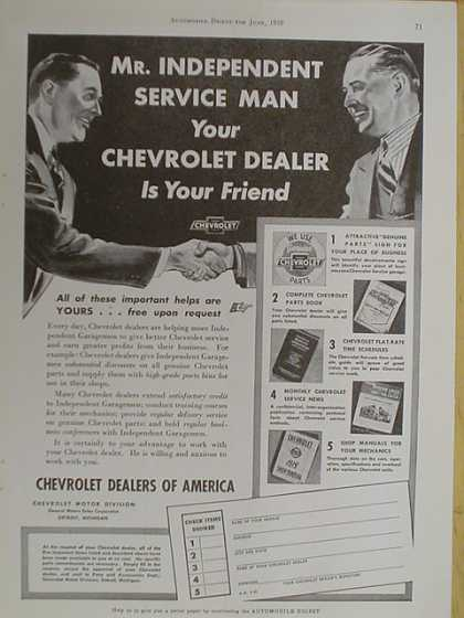 Chevrolet dealers of America. Chevy dealer is your friend (1939)