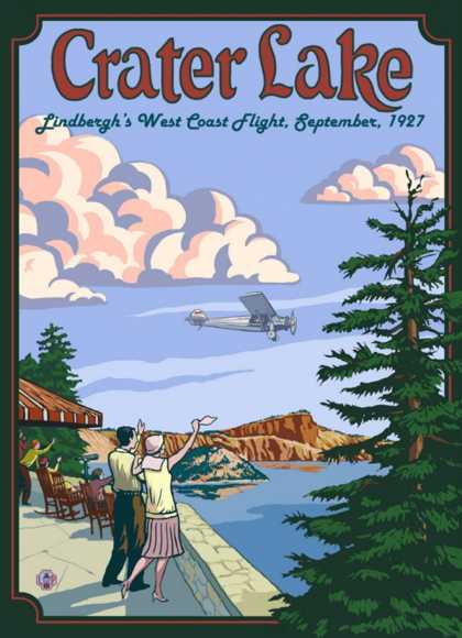 Lindbergh's West Coast Flight, Crater Lake, Oregon (1927)