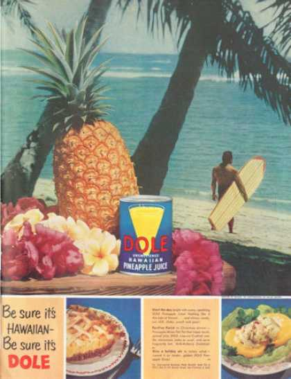 Dole Pineapple Wood Surfboard Surfing (1952)