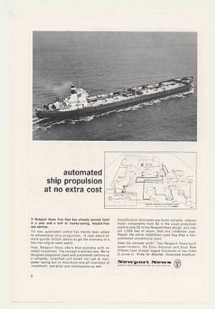 Esso Oil Tanker Ship Newport News Shipbuilding (1966)