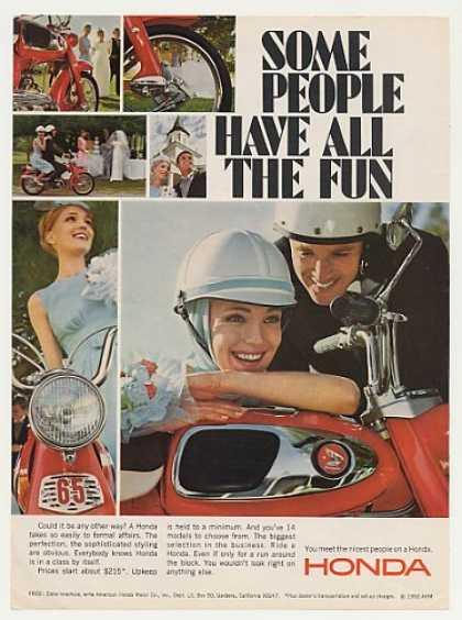 Honda 65 Motorcycle Wedding Couple People Fun (1966)