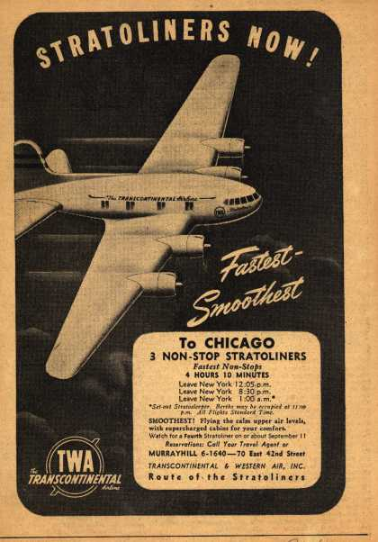 Transcontinental & Western Air's Stratoliners – Stratoliners Now! Fastest- Smoothest (1940)