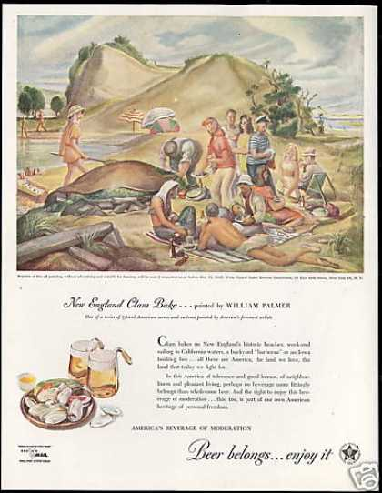 New England Clam Bake Beer Brewers Palmer Art (1945)