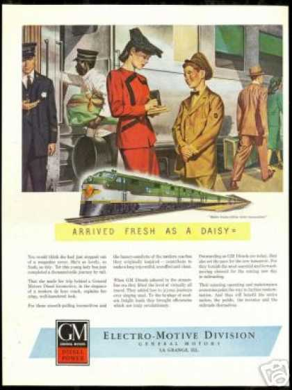 GM Locomotive Train Railroad Vintage Art (1946)