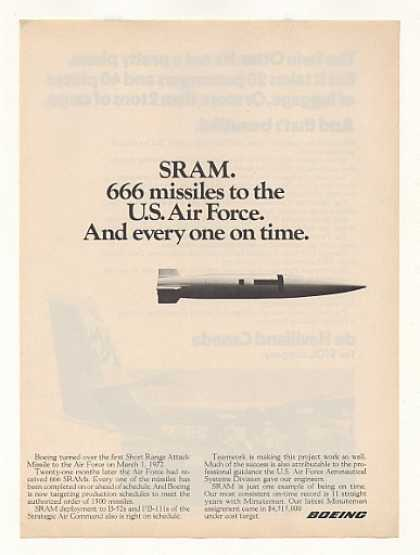 Boeing SRAM Short Range Attack Missile Photo (1973)