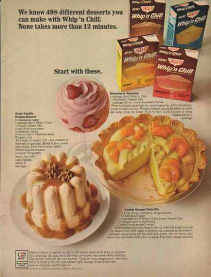 JELL-O Whip'n Chill Dessert Mix – Recipes (1965)
