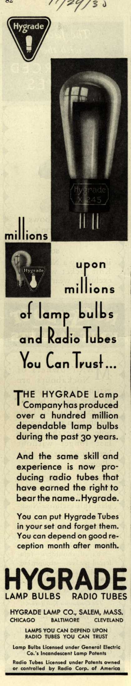 Hygrade Lamp Co.'s Radio Tubes – Millions upon millions of lamp bulbs and Radio Tubes You Can Trust.. (1930)
