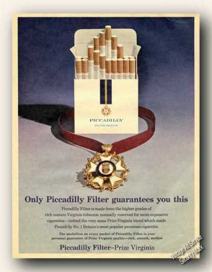Picadilly Filter Cigarettes Uk Advertising (1965)