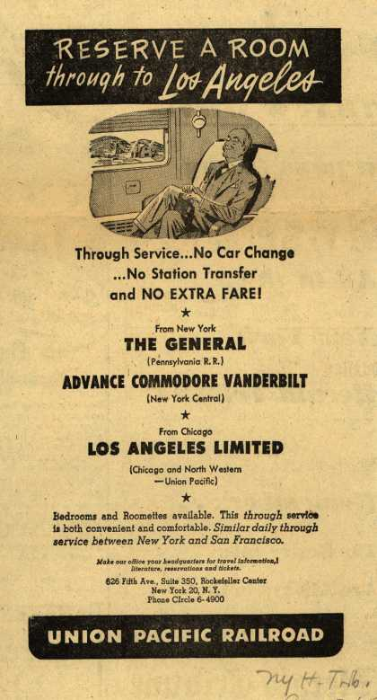 Union Pacific Railroad's Through Service – Reserve a Room through to Los Angeles (1952)