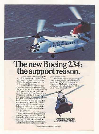 British Airways Boeing 234 Helicopter Photo (1981)