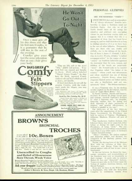 Danl Green Comfy Felt Slippers 1/2 Page (1915)