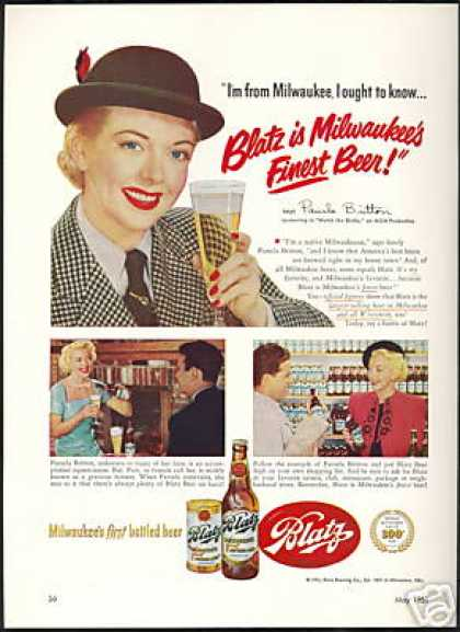 Pamela Britton Photo Blatz Beer Vintage (1951)
