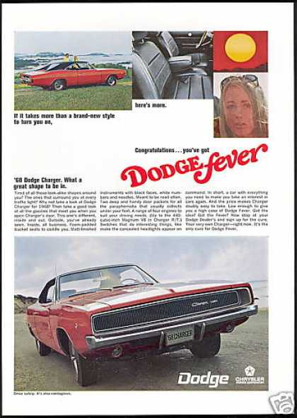 Red Dodge Charger Car New Style (1968)