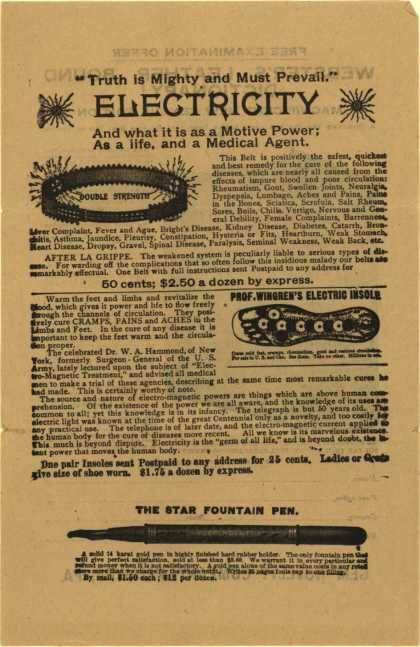 Gem Novelty Co.'s Electrical items and Webster's Leather Bound Dictionary – Truth is mighty and must prevail – electricity