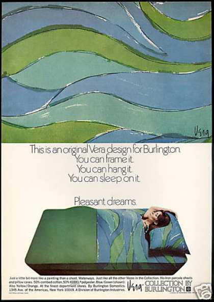 Vera Fashion Blue Green Sheets Burlington (1971)