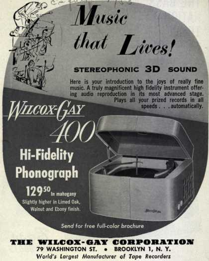 Wilcox-Gay Corporation's Wilcox-Gay 400 Hi-Fi Phonograph – Music That Lives! Stereophonic 3D Sound. (1953)