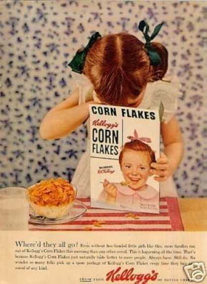 "Kellogg's Corn Flakes Cereal Ad ""Where'd They All (1954)"