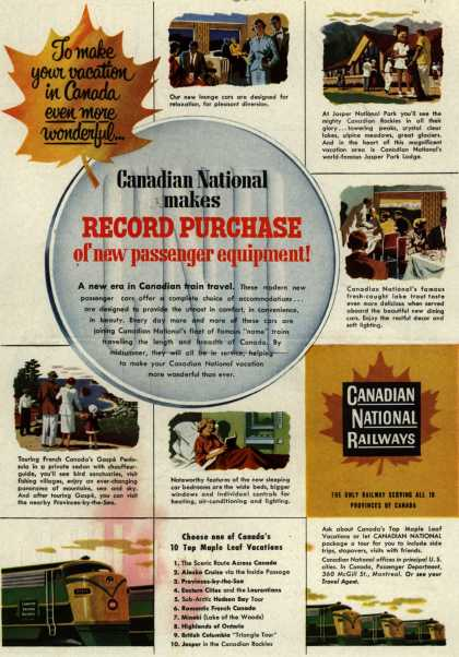 Canadian National Railway's passenger car – To make your vacation in Canada even more wonderful...Canadian National makes RECORD PURCHASE of new passenger equipment (1954)