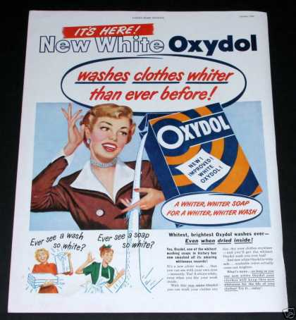 Oxydol Soap, New, Whiter (1949)