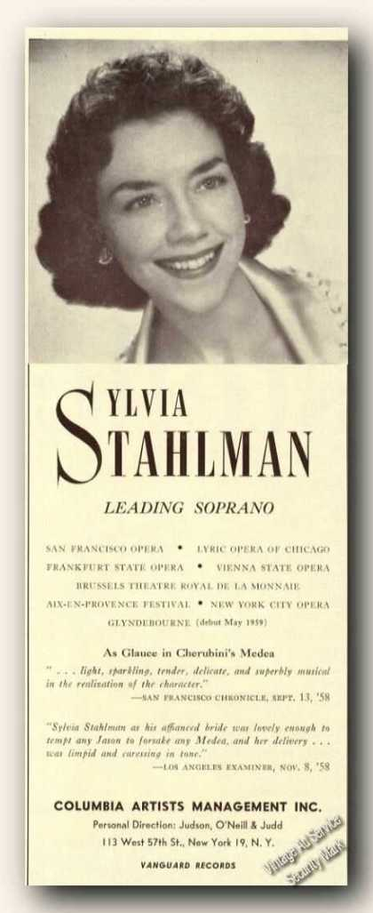 Sylvia Stahlman Photo Opera Ad Music (1959)