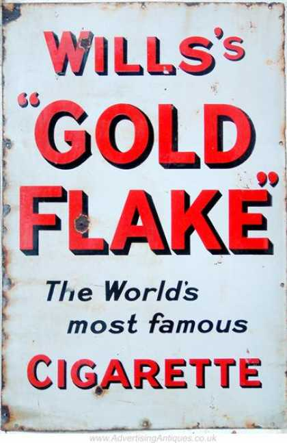 Wills's Gold Flake Cigarettes Sign