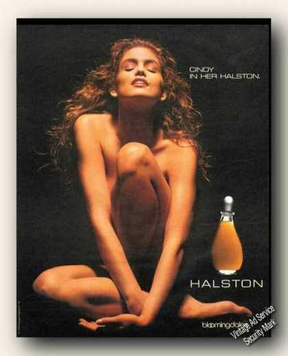 Naked Cindy Crawford Halston Advertising (1990)