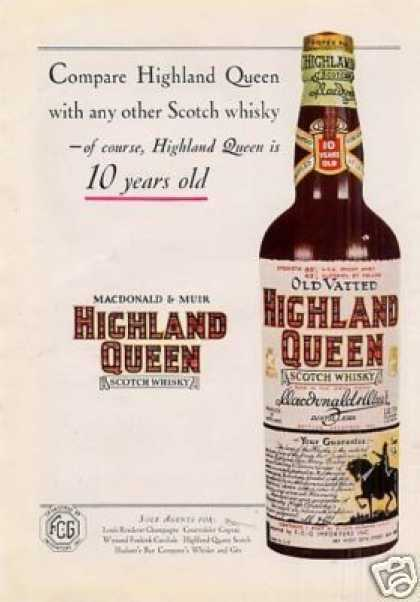 Highland Queen Scotch Whisky (1934)