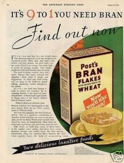 Post's Bran Cereal Color Ad Centerfold (1931)