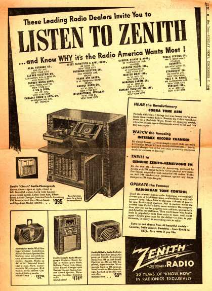 Zenith Radio Corporation's Various – These Leading Radio Dealers Invite You to Listen to Zenith ...and Know WHY it's the Radio America Wants Most (1947)