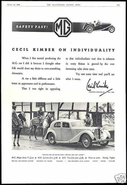 MG M.G. Car Cecil Kimber Individuality UK (1938)