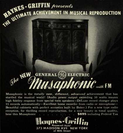 General Electric Company's Radio – Haynes-Griffin presents the ultimate achievement in musical reproduction (1942)