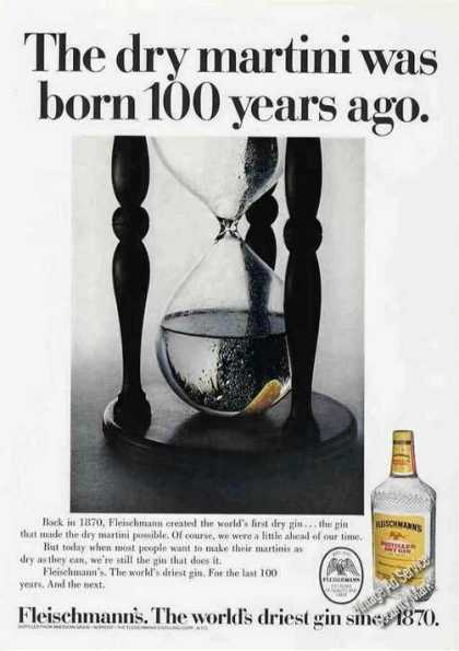 The Dry Martini Born 100 Year Ago Fleischmann's (1970)