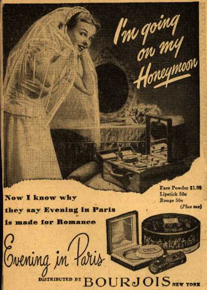 Bourjoi's Evening in Paris Cosmetics – I'm going on my Honeymoon (1944)