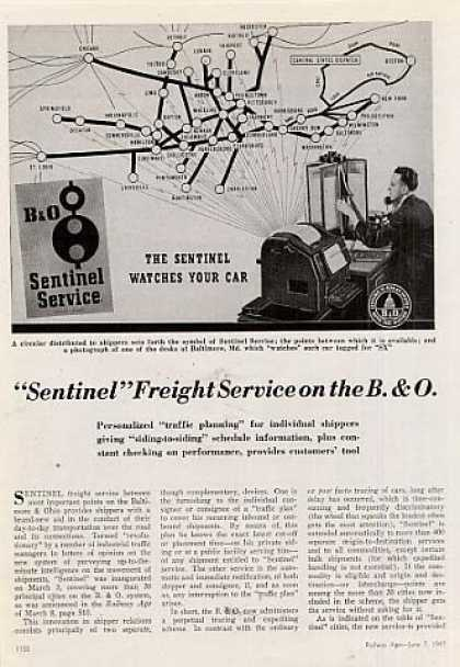 """Sentinel Freight Service On the B&o"" Article (1947)"